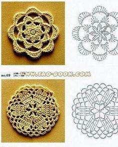 lovely crochet from Tao-Book via Tecendo Artes em Crochet Granny Square Crochet Pattern, Crochet Stitches Patterns, Crochet Diagram, Doily Patterns, Crochet Chart, Crochet Squares, Crochet Motif, Crochet Designs, Crochet Doilies