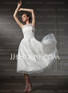 Wedding Dresses - $139.99 - A-Line/Princess Scoop Neck Tea-Length Organza Satin Wedding Dress With Flower(s) (002021079) http://jjshouse.com/A-Line-Princess-Scoop-Neck-Tea-Length-Organza-Satin-Wedding-Dress-With-Flower-S-002021079-g21079