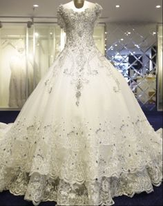 CWD5 Glamorously Gorgeous Wedding Gown 2015 Heavy Beaded Crystals See Through Back Vestidos Cathedral Train Wedding Dresses