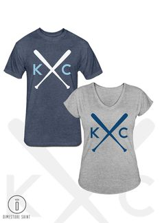 NEW KC Crossbats Kansas City Royals Unisex and Women's V Neck shirts DimestoreSaintDesign