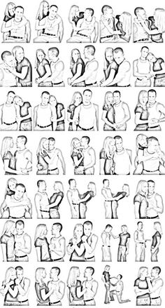 Very useful guide to positioning of a couple.  Some romantic, some more domesticated (think older couples).