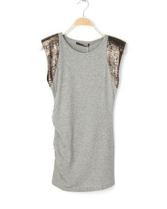 Grey Sleeveless Snakeskin Pad Shoulder Ruched Side Shirt