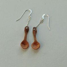 Cherry Spoon Earrings by NHwoodcraft on Etsy
