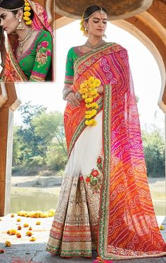 Aesthetic White, Pink and Orange Designer Sari Online