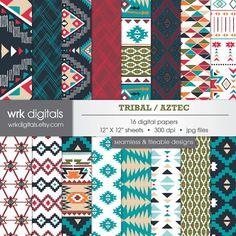 Tribal Digital Paper Pack Seamless Pattern Digital by WRKDigitals