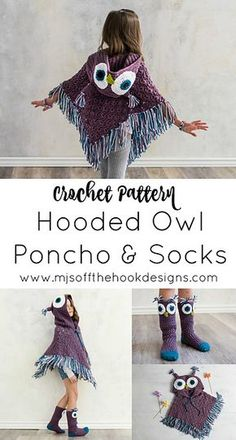 Crochet Stitches Design Ravelry: Hooded Owl Poncho and Socks pattern by MJ's Off The Hook Designs Crochet Girls, Crochet For Kids, Free Crochet, Crochet Baby Poncho, Ravelry Crochet, Crochet Owl Blanket, Crochet Owl Hat, Crochet Hood, Crochet Vests