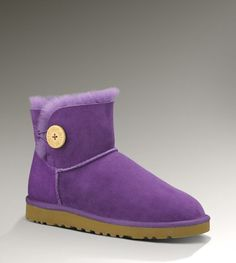 Womens Mini Bailey Button By UGG Australia wish my fairy godmother would bring me these in Peashoot Purple Uggs, Purple Boots, Classic Ugg Boots, Ugg Classic, Ugg Boots Sale, Uggs For Cheap, Ugg Winter Boots, Winter Coat, Mini Baileys