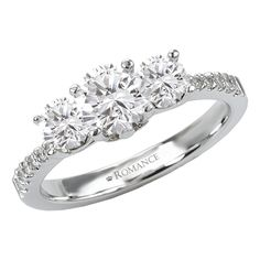 14KW Romance Complete 3 Stone Engagement Ring Including .50CT Round Diamond