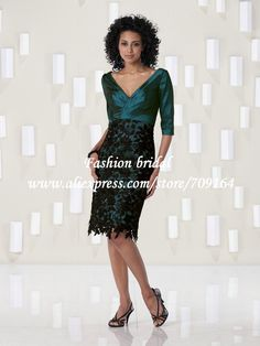 2013 Groom Vintage Turquoise Mother of The Bride Dresses Knee Length Black Lace Decoration CH416 $125.69