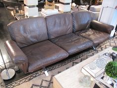 1970's De Sede Tobacco Leather Sofa on Chrome Legs image 2
