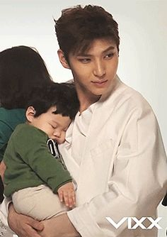 Leo with a baby is when you can really see him showing how caring, sweet, and kind his heart is. Hold babies more often, Leo! <3