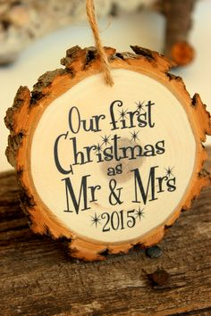 Our first Christmas as Mr & Mrs Diy 1st Christmas Ornaments, Wood Ornaments, Diy Christmas Gifts, Christmas Decorations, Christmas Patterns, First Christmas Married, Christmas Couple, Christmas Love, Christmas Holidays