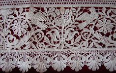 Late 19th C. or early 20th C, this lace could be work done by The Aemilia Ars Society. The Society was responsible for the most wondeful lace, making stunning reproductions of 16th -17th Century laces. ,Maria Niforos