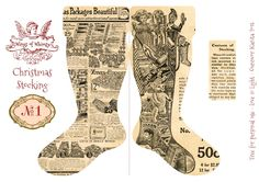 Wings of Whimsy: Vintage Christmas Stocking No 1 #freebie #printable #vintage #christmas #stocking