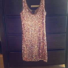 Banana Republic Dress Sparkly rose gold party dress.  Excellent condition. Not heavy at all feels super light. Banana Republic Dresses Midi