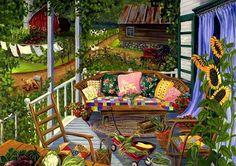 terraza con girasoles