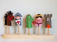 Marionetas de dedo. Set de cinco títeres de dedo en por LaRoba