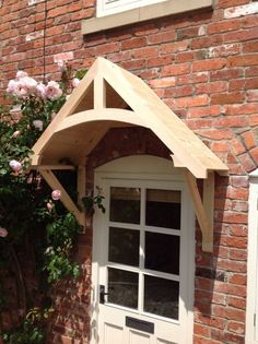 """Details about Timber Front Door Canopy Porch, """"CROSSMERE""""Hand made Shropshire awning canopies - Hkkcmzh Front Door Awning, Porch Awning, Porch Roof, Exterior Front Doors, Garage Doors, Diy Awning, Outdoor Window Awnings, Porch Overhang, Metal Door Awning"""