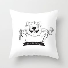 Friday Cat Throw Pillow by Trapezoid - $20.00
