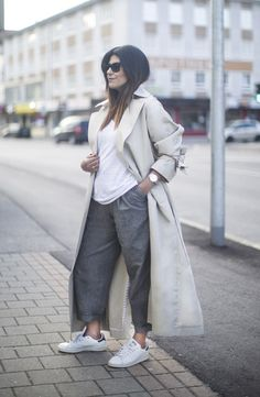 Fashion Landscape   Lazy Weekend Outfit. Wearing: Topshop Boutique Trench Coat, Topshop Boutique Mensy Trousers, Adidas Stan Smith Sneakers