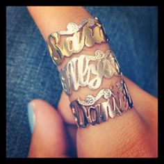 Sterling Silver Jewelry - Gold Vermeil Custom Script Name Ring