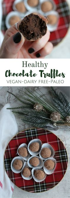 Healthy Chocolate Truffles are the ultimate dessert. One bite in to these dreamy treats & you'll hardly believe they're paleo + vegan!