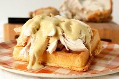 Amish chicken and waffles done the Pennsylvania Dutch way means roast chicken on a waffle with creamy gravy. It's epic comfort food.