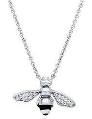 """BERRICLE Sterling Silver with Swarovski Zirconia Bee Fashion Pendant Necklace 16""""+2"""" Extender"""
