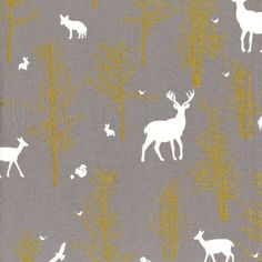 Sweet Ginger Emporium - Michael Miller Timber Valley Fog, £3.50 gorgeous metallic golds with stags on. new Jan 2015