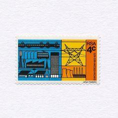 50 Years of ESCOM (4c). South Africa, 1973. Design: Johan Hoekstra. #mnh #graphilately