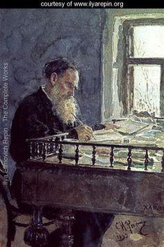 Lev Tolstoy (1828-1910) at work, 1893 - Ilya Repin -