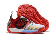 a7633b26b643 2018 adidas Harden Vol. 2 Red Black White Gold Basketball Shoes