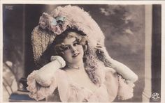 Pretty Edwardian Lady in Feathered Hat by Reutlinger..pre-1905