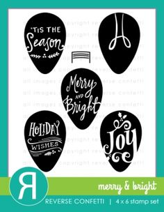 Reverse Confetti MERRY AND BRIGHT Clear Stamp Set