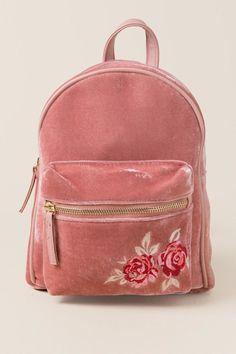 Ashley Rose Embroidered Velvet Mini Backpack - 1