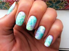 Watercolor style nails.