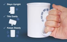 handSteady Cup  Introducing the world's first cup with a rotatable handle.Makes drinking easier by removing the need to twist your wrist, raise your elbow or lean your head back as far. Pinned by ottoolkit.com your source for geriatric OT resources.