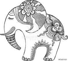 Illustration of Indian elephant painted by hand. vector art, clipart and stock vectors. Elefante Hindu, Elephant Coloring Page, Elephant Colour, Zen Colors, Madhubani Art, Coloring Book Pages, Mandala Art, Doodle Art, Art Lessons