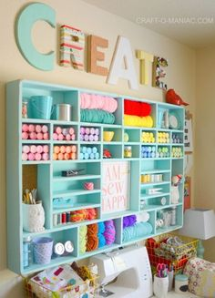 Craft Room Organization & Inspiration - Yarn Holder - Craft Storage and Craft Organization Ideas - Craft Room Decor, Craft Room Design, Craft Room Storage, Craft Organization, Organizing Crafts, Bedroom Crafts, Paint Storage, Closet Organization, Storage Shelves