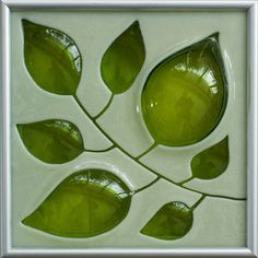 CUSTOM Cream/Lime Leaves Hand Carved and Fused by MichelleProsek