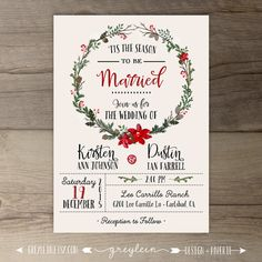 Winter Wedding Invitations  Wreath  'Tis the Season to by greylein