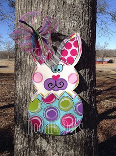 Easter Bunny Door Hanger by DoOdLeDotsAnDmOre on Etsy, $35.00