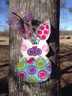 Easter Bunny Door Hanger by DoOdLeDotsAnDmOre on Etsy, $35.00