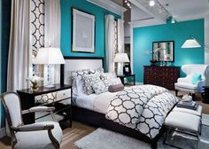 There is nothing particularly special about this room that earns it a spot in my dream home...other than the color and pattern scheme!  I absolutely love teal, and I love black accents with almost any color.  This room looks edgy and modern but still cozy and inviting.  The patterns are bold but familiar, and I know I'd feel safe in this cocoon of a room.  Possible guest room or master.  Unsure.