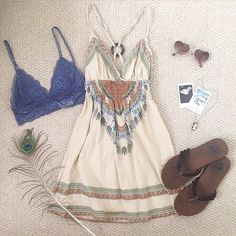 | White Feather and Tribal Print Dress | Royal Blue Lace Bralette | Brown Sandals | Heart Shaped Sunglasses | Necklace |