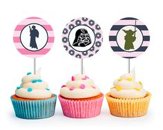 INSTANT DOWNLOAD Modern Girls Star Wars Cupcake Toppers (Star Wars party, Princess Leia, Girls Party, Printable Cupcake Toppers) on Etsy, $6.00