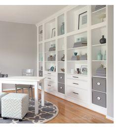 Combine stock IKEA units to create a nice wall unit.
