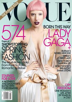 American Vogue March 2011 Cover (American Vogue).   Mario Testino - Photographer.   Tonne Goodman - Fashion Editor/Stylist.   Orlando Pita - Hair Stylist.   Linda Cantello - Makeup Artist.   Lorandy - Manicurist.   Lady Gaga - Entertainer.