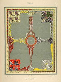 1904 Lithograph Art Nouveau Ceiling Designs Schlicht