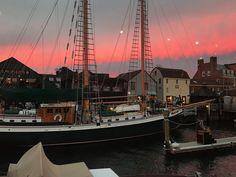 Sunset view from Tyler Boe Newport Store window